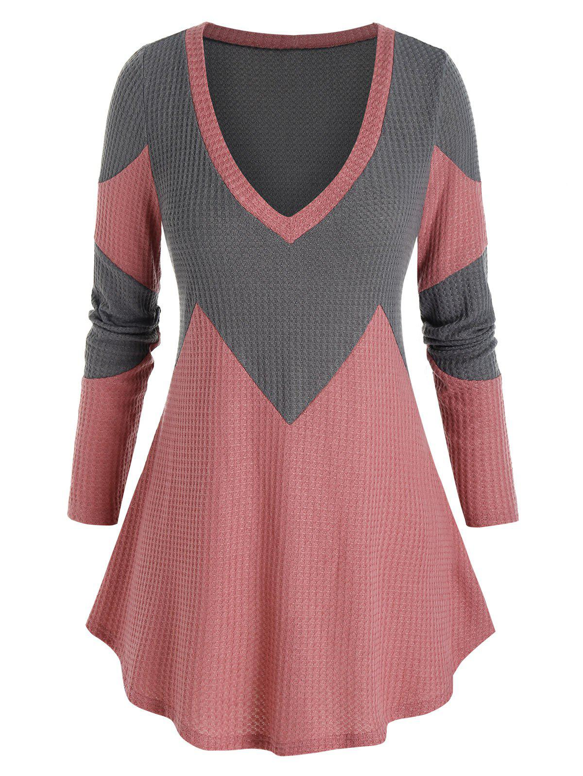 New Plus Size Bicolor Two Tone Plunging Tunic Sweater