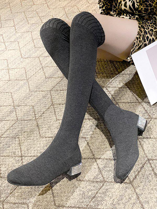 Hot Over The Knee Length Stretch Rhinestone Boots
