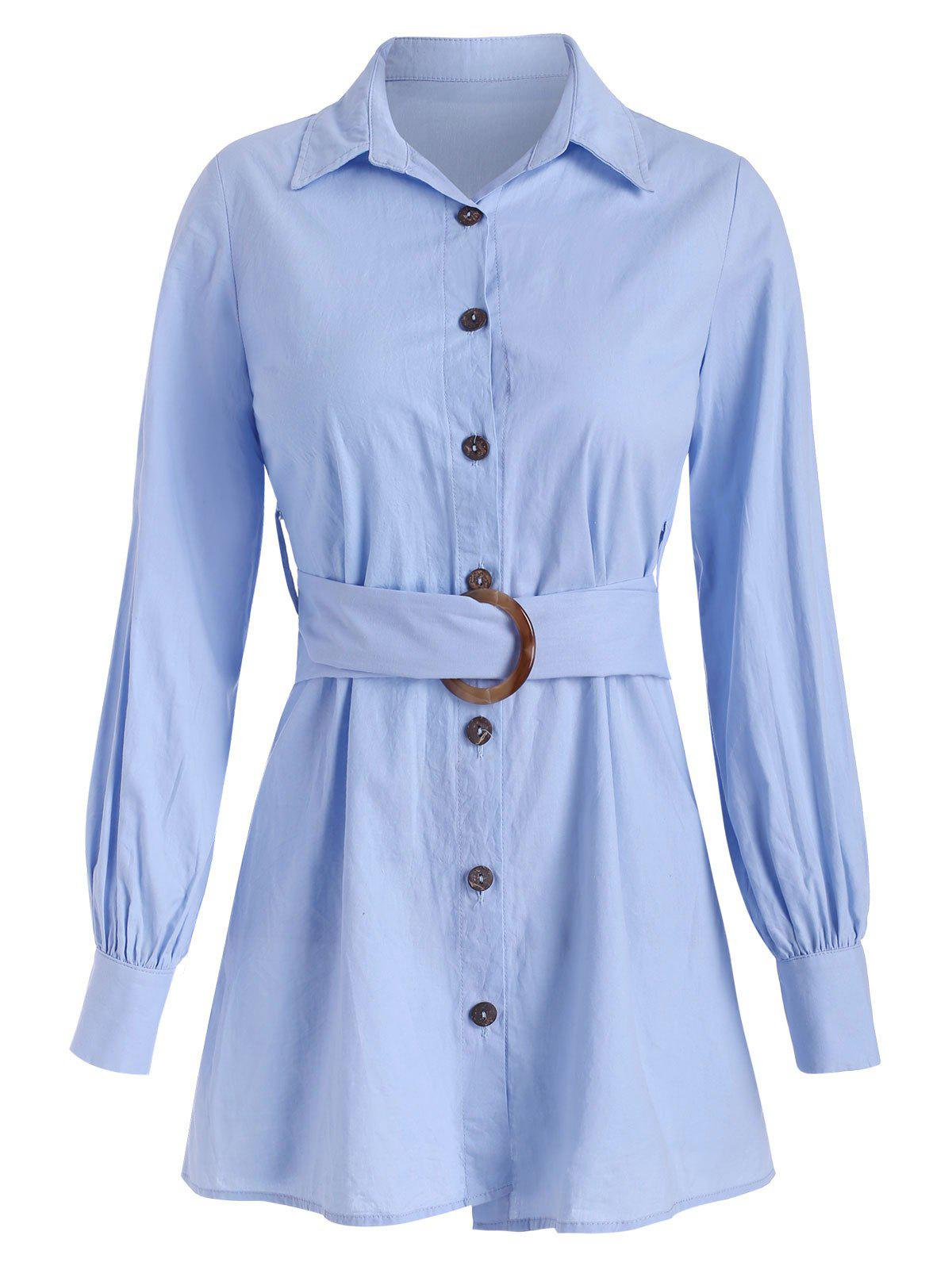 Sale Button Up Shirt with O-ring Belt