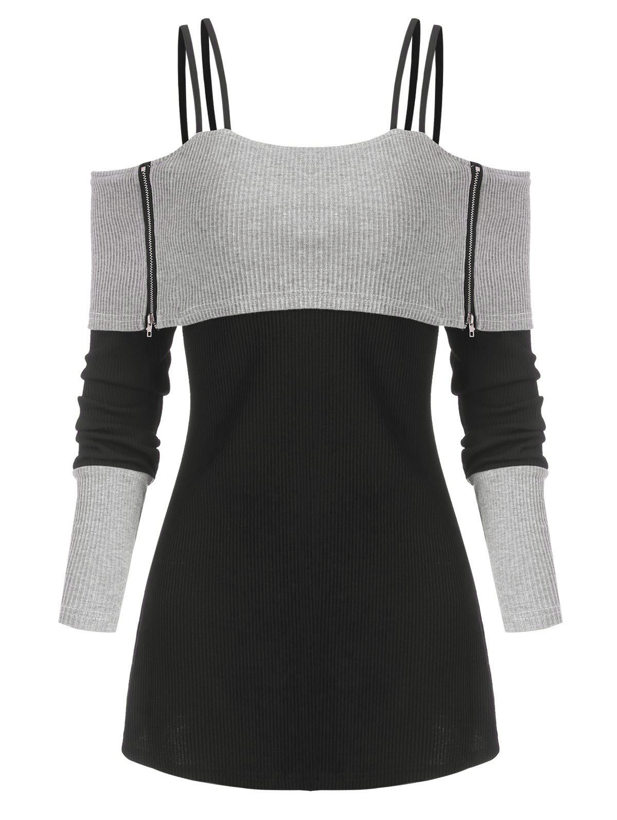 Shops Two Tone Open Shoulder Zipper Ribbed Sweater