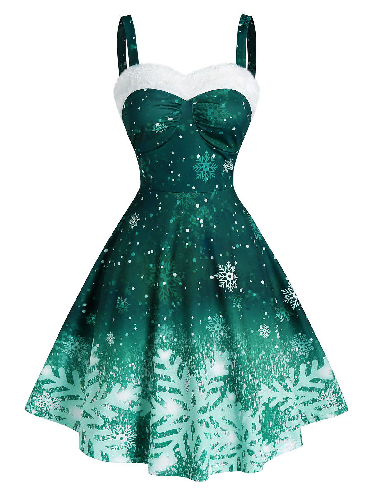 Fashion Ombre Color Snowflake Print Christmas Dress