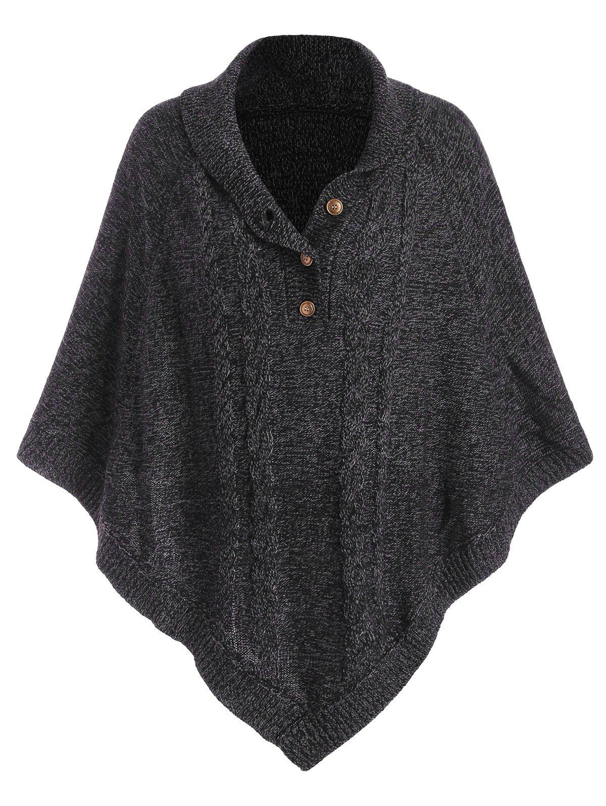 Best Shawl Collar Cable Knit Heathered Asymmetrical Poncho Sweater