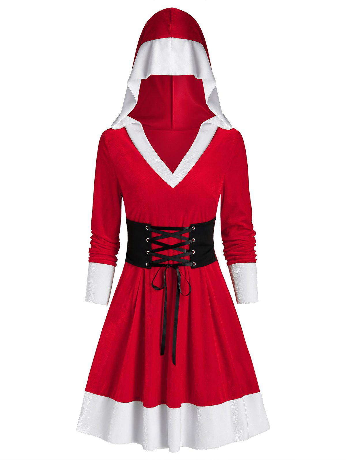 Outfit Hooded Christmas Velvet Lace Up Dress