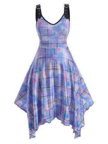 Heart Buckled Straps Tie Dye Plaid Plus Size Dress