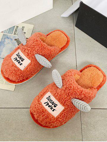 Cartoon Unicorns Shape Fluffy Slippers - ORANGE - EU 41