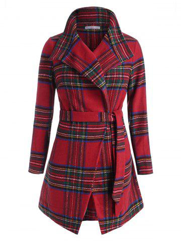 Plus Size Christmas Checked Long Belted Wrap Coat - RED - L