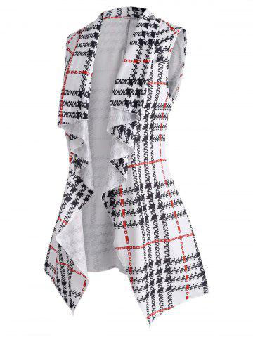 Plus Size Plaid Waterfall Draped Tunic Belted Vest - WHITE - L
