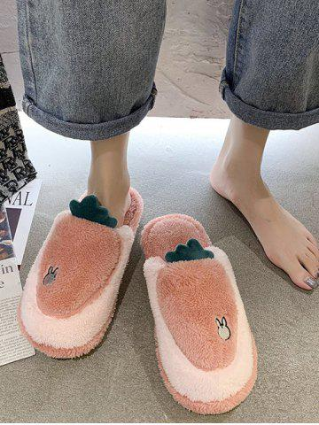 Cartoon Carrot Shape Fuzzy Home Slippers - LIGHT PINK - EU 38