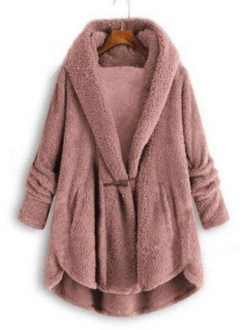 Plus Size High Low Hooded Faux Fur Coat - LIGHT PINK - XL