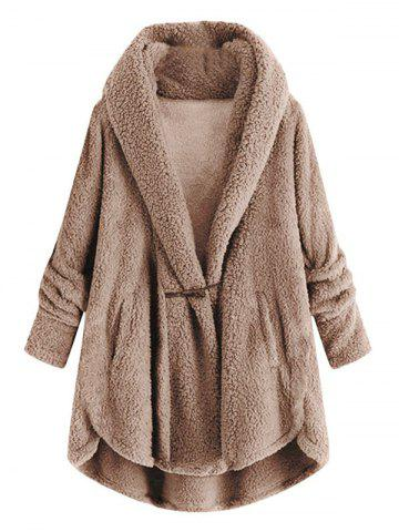 Plus Size High Low Hooded Faux Fur Coat - LIGHT COFFEE - 2XL
