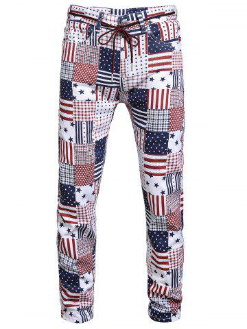 American Flag Pattern Long Jeans - MULTI-A - 38