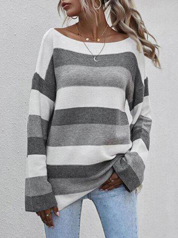 Colorblock Striped Boat Beat Suéter - GRAY - S