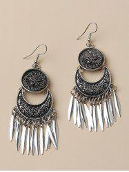 Flower Embossed Leaf Fringed Drop Earrings -