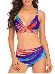Plunging Ombre Stripes Bikini Swimwear -
