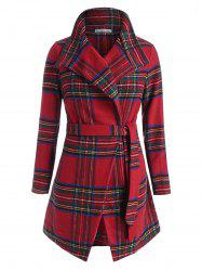 Plus Size Christmas Checked Long Belted Wrap Coat -