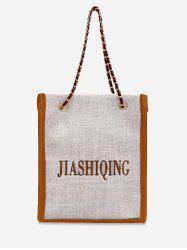 Letter Embroidery Canvas Chain Tote Bag -
