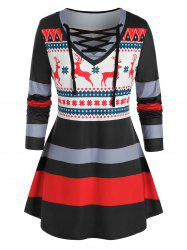 Plus Size Christmas Elk Striped Snowflake Lace-up Tunic Tee -