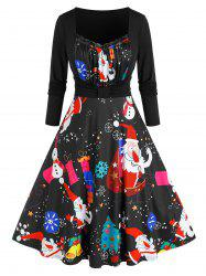 Plus Size 2 In 1 Santa Print Flare Dress -