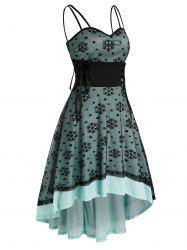 Christmas Snowflake Pattern Strappy Lace-up High Low Lace Dress -