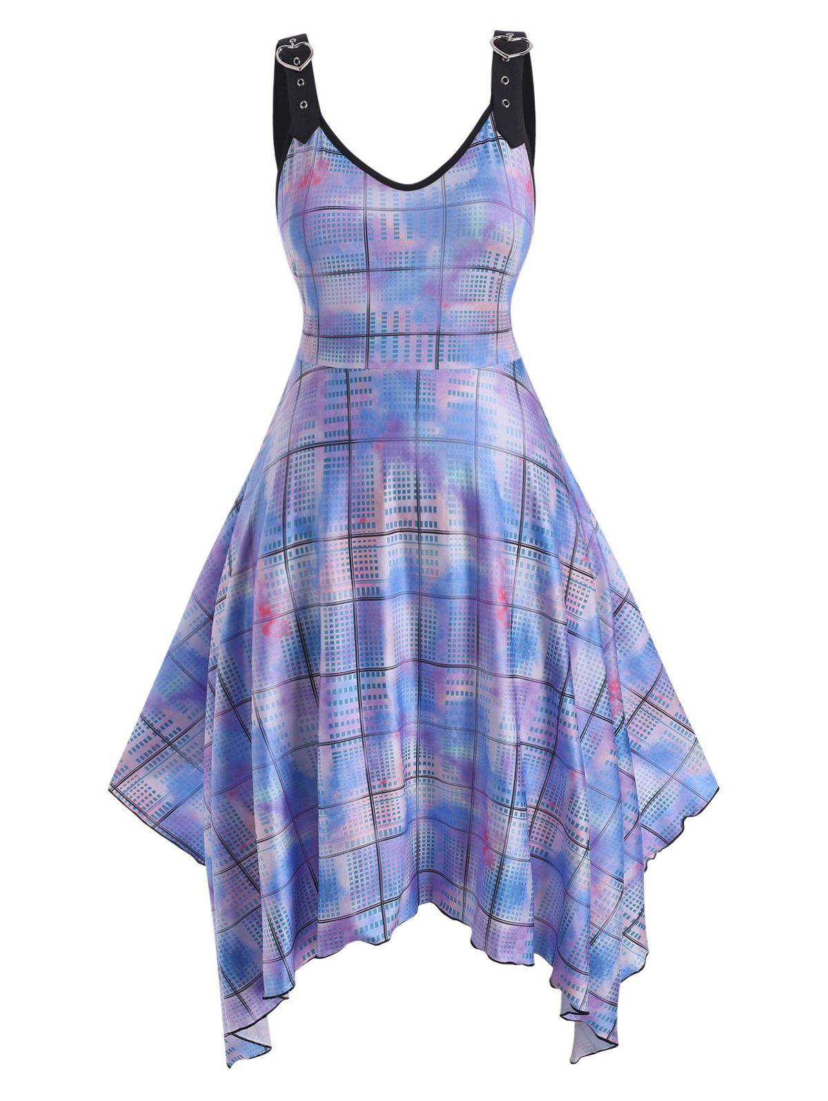 Outfit Heart Buckled Straps Tie Dye Plaid Plus Size Dress