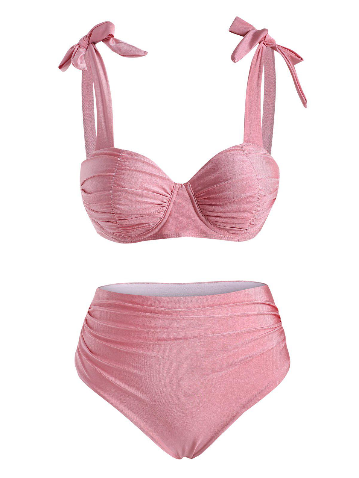 Outfit Ruched Tie Shoulder Tummy Control Bikini Swimwear
