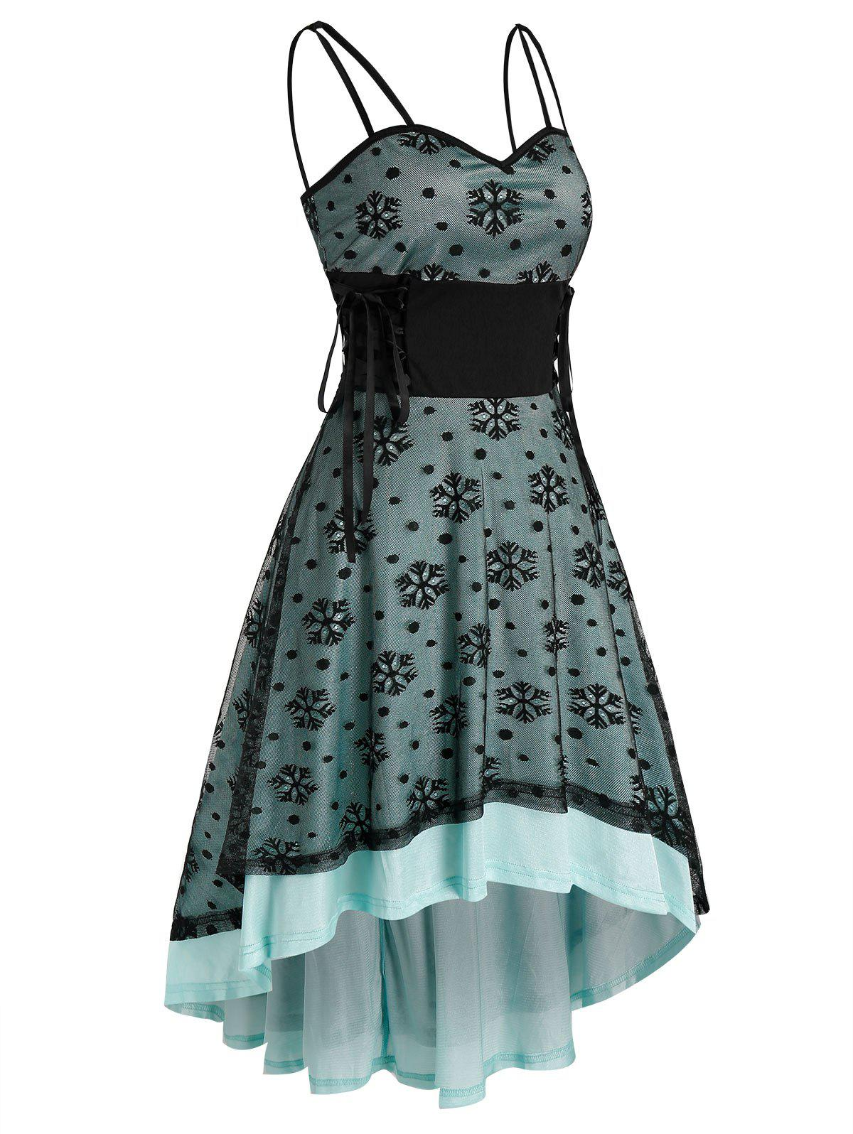 Shops Christmas Snowflake Pattern Strappy Lace-up High Low Lace Dress