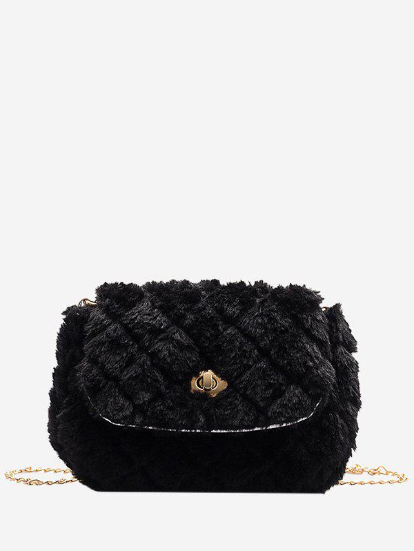 Faux Fur Quilted Fluffy Crossover Bag