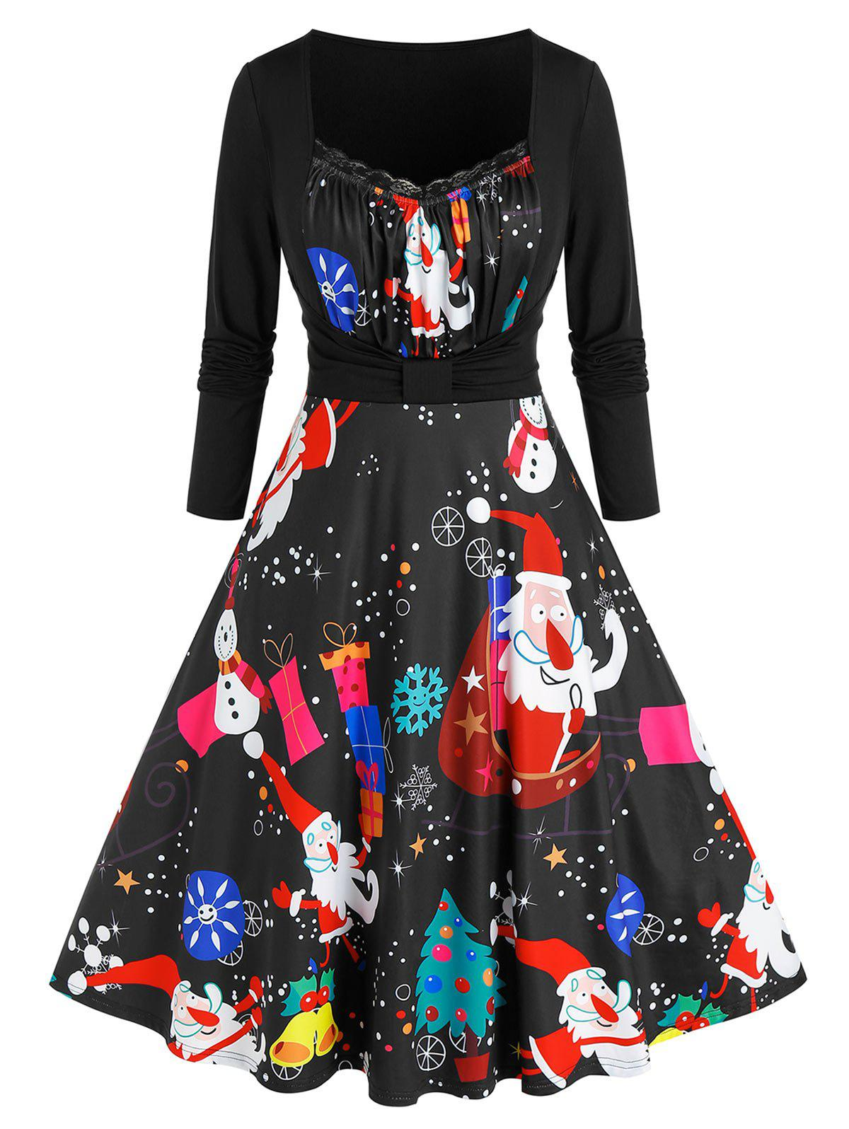 Discount Plus Size 2 In 1 Santa Print Flare Dress