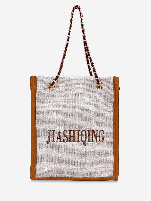 Fashion Letter Embroidery Canvas Chain Tote Bag