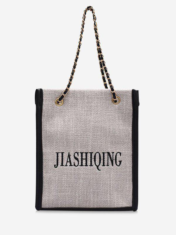 Fancy Letter Embroidery Canvas Chain Tote Bag
