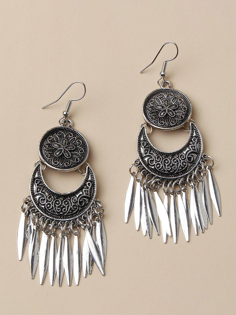 Fancy Flower Embossed Leaf Fringed Drop Earrings