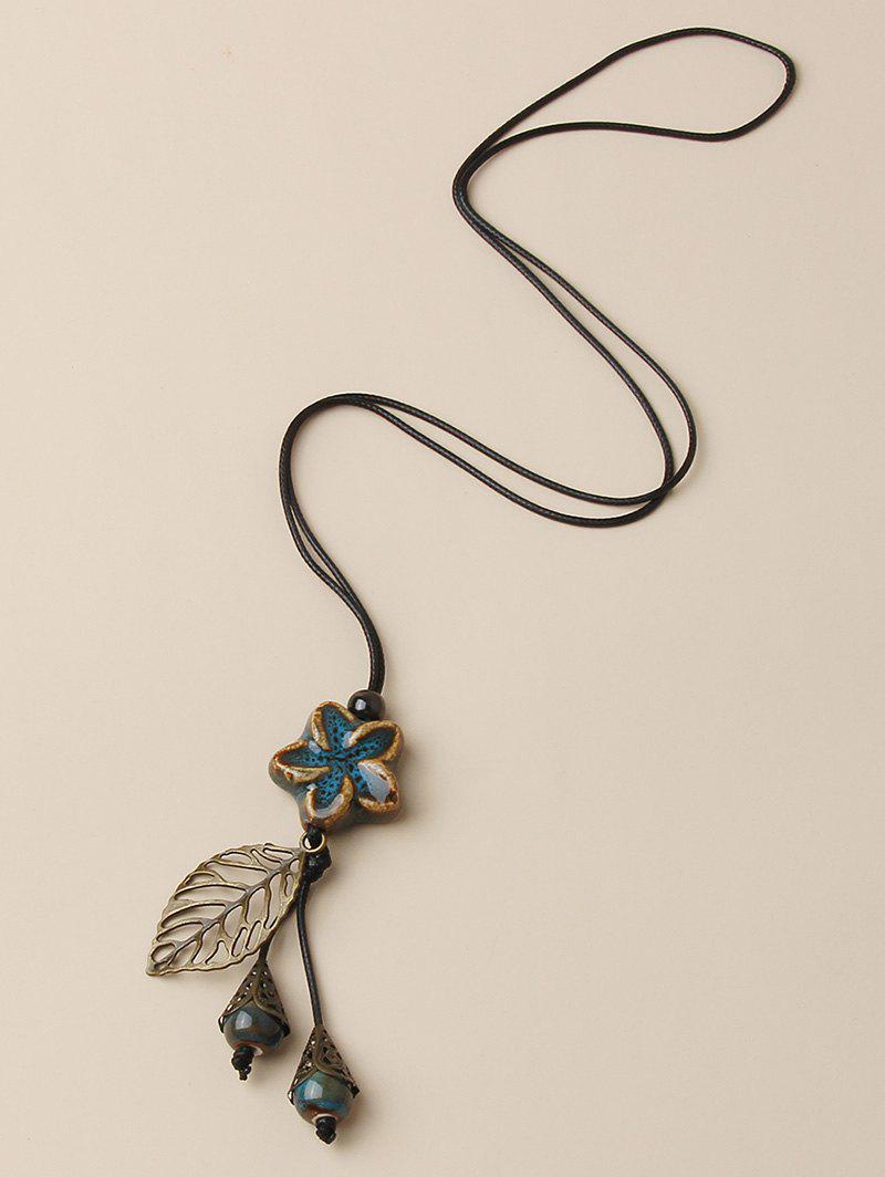 Outfits Hollow Out Leaf Flower Pendant Necklace