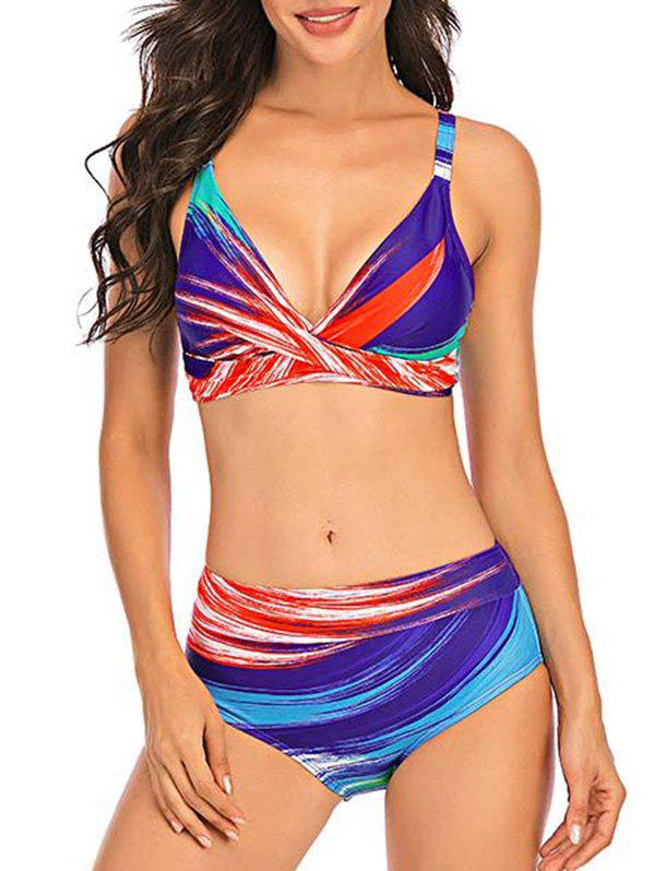 Outfit Plunging Ombre Stripes Bikini Swimwear