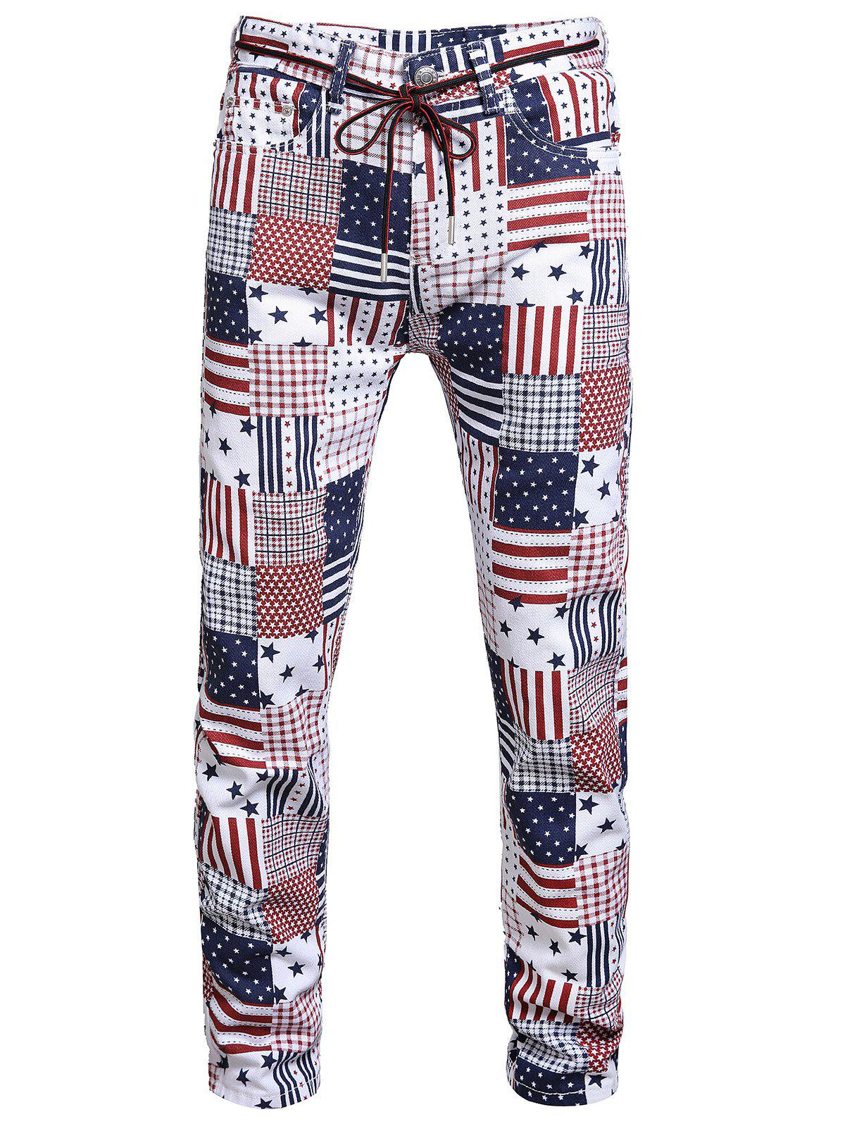 Latest American Flag Pattern Long Jeans