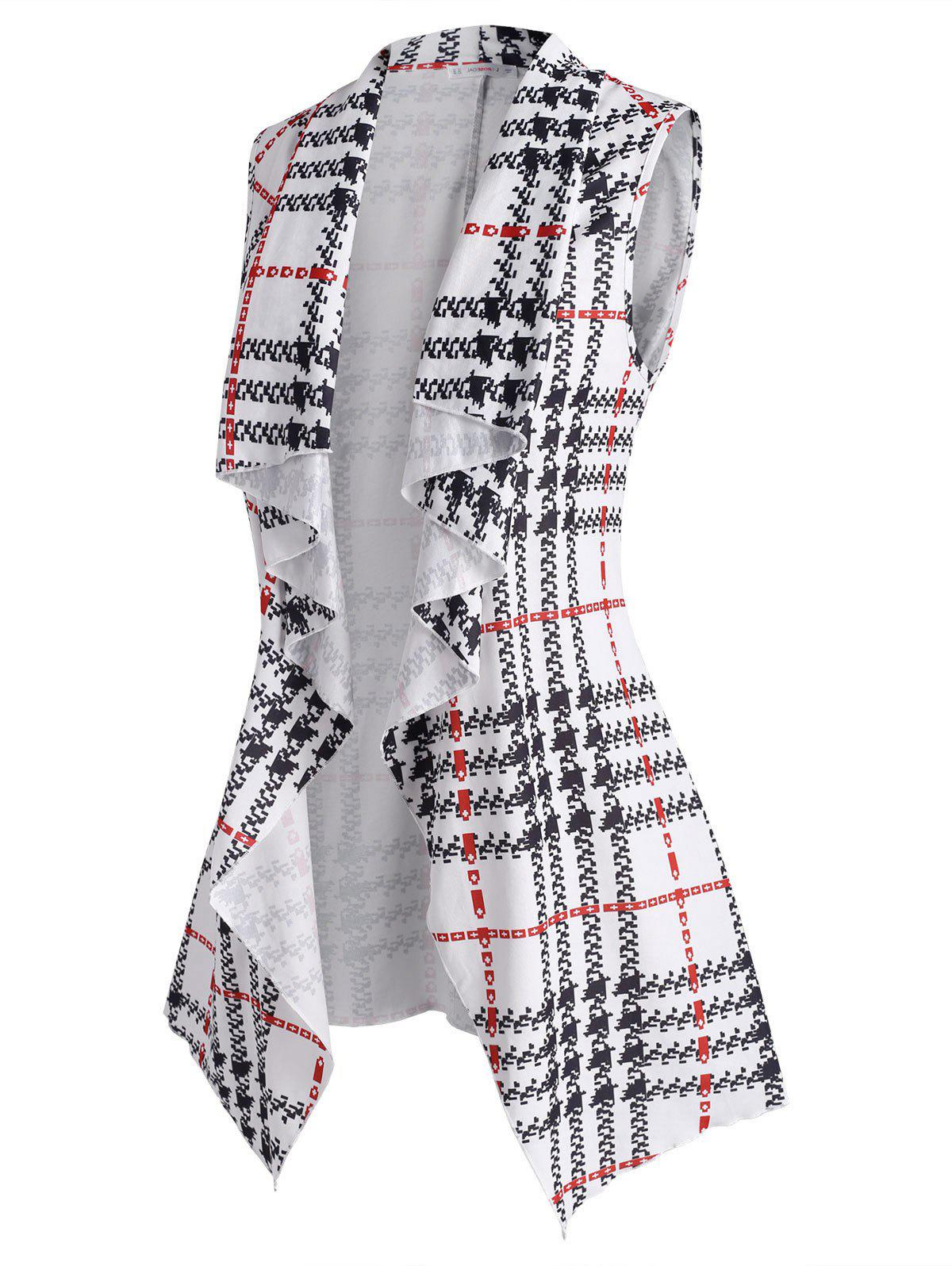 Unique Plus Size Plaid Waterfall Draped Tunic Belted Vest