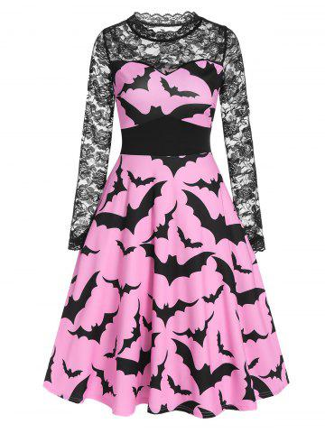Halloween Bat Print Sheer Lace Sleeve A Line Dress