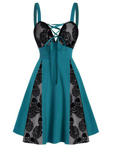 Bicolor Lace-up Skull Floral Mesh Panel Dress - DARK TURQUOISE - S