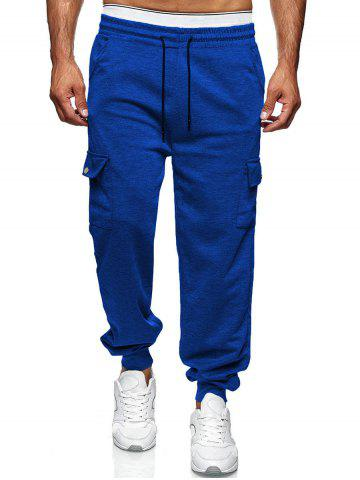 Drawstring Side Pockets Tapered Casual Pants - COBALT BLUE - S