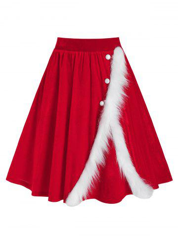 Christmas Faux Fur Insert Velvet Midi Skirt - RED - 3XL