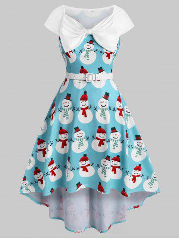 Plus Size Christmas Bowknot Snowman Print Dress - BLUE - L