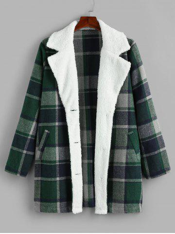 Plus Size Plaid Faux Fur Pocket Single Breasted Coat - MEDIUM SEA GREEN - 1X