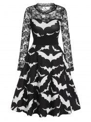 Halloween Bat Print Sheer Lace Sleeve A Line Dress -
