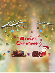 Merry Christmas Santa Print Wall Glass Stickers Set -