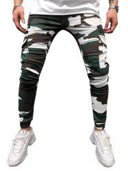 Camouflage Print Drawstring Tapered Cargo Pants -