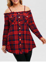 Plus Size Cold Shoulder Ruffled Plaid Top -