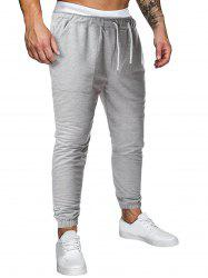 Drawstring Applique Detail Heathered Sports Pants -