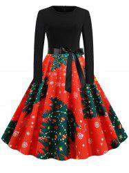 Plus Size Christmas Tree Print Pin Up Dress -