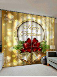 2 Panels Christmas Bell Bowknot Pattern Window Curtains -