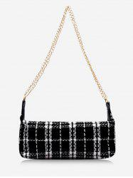 Plaid Print Wool Blend Shoulder Bag -