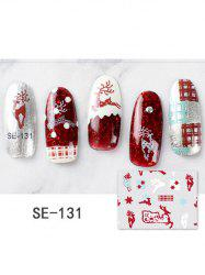 DIY Christmas Elk Plaid Print Nail Stickers -
